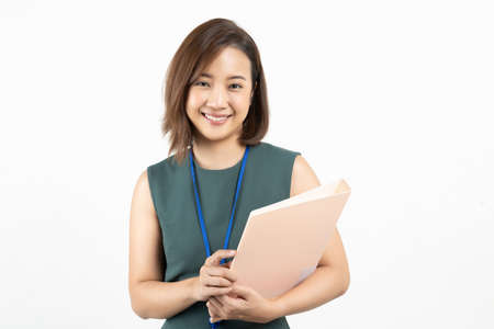 Portrait of young Asian business woman on white isolate background Stock fotó