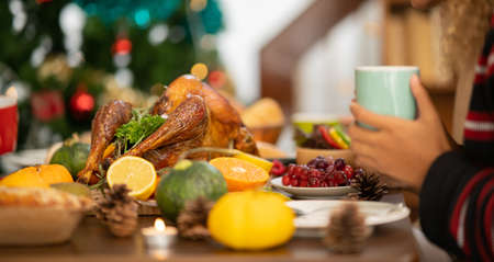 People Celebrating Thanksgiving Dinner at home . Celebration tradition concept