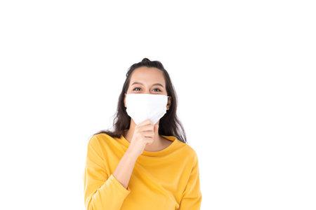 Young Asian woman wearing hygienic mask