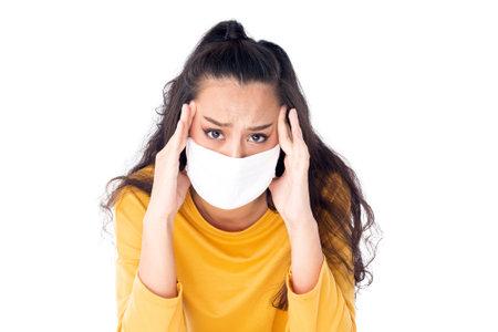 Stress Worried Asian woman wearing hygienic mask