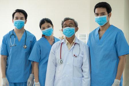 Portrait team Asian Doctors with face masks