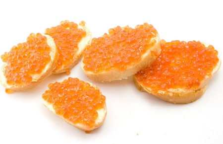 sandwiches with red caviar photo