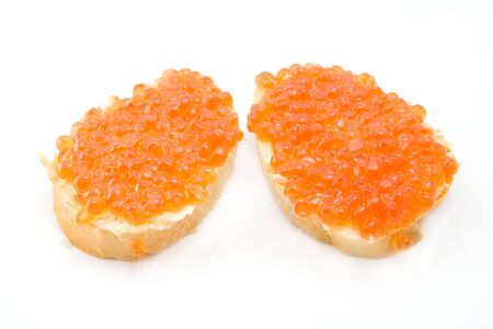 two sandwiches with caviar photo