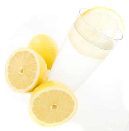 lemony: lemonade with lemons isolated on white