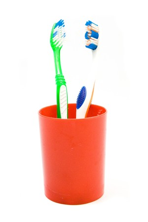buccal: toothbrushes isolated Stock Photo