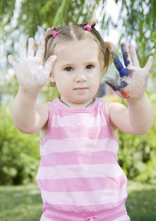 girl playing with paints Stock Photo - 4479633