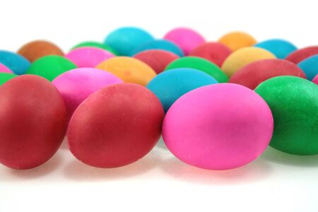 coloured easter eggs isolated onwhite photo