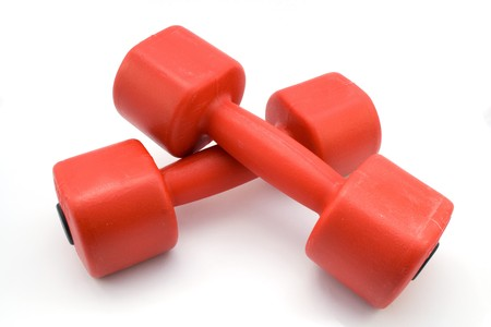 two dumbbells isolated on white  Stock Photo