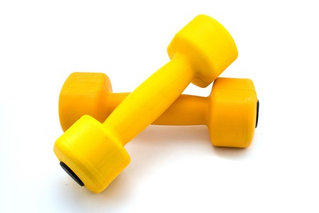 two barbells isolated on white Stock Photo - 4498184