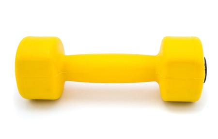 yellow dumbbell isolated on white Stock Photo - 4498125