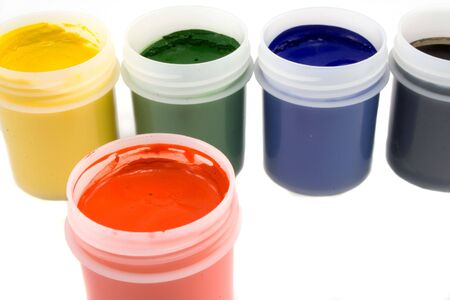 daubs: Gouache paint cans isolated on white background