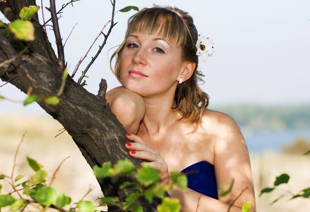 bride in blue photo