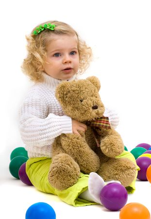 cute little girl with bear photo