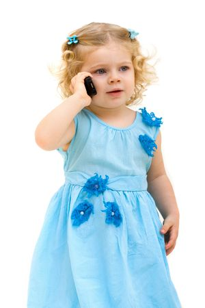 child with phone isolated on white photo