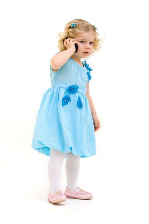 little child with phone isolated photo