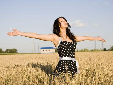 happy girl in field photo