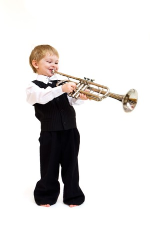 cute little boy with horn isolated on white Stock Photo