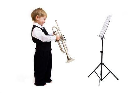 cute little Boy mit Horn isolated on white