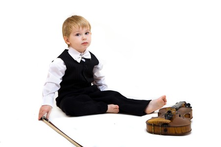 cute little boy with violin isolated on white Stock Photo - 8167598