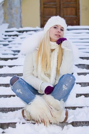 portrait of beautiful adult girl outdoor in winter Zdjęcie Seryjne
