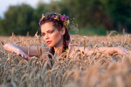 beautiful girl in summer photo