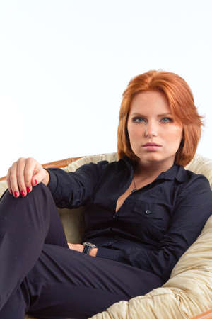 cute model in studio with red hair photo