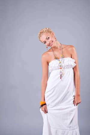 portrait of pretty model in studio Stock Photo
