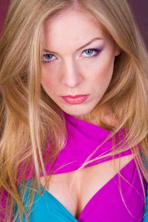 portrait of blond girl in studio photo