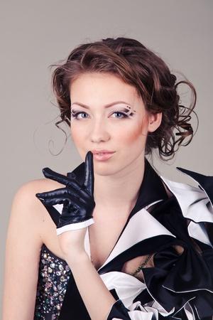beautiful woman in creative dress on grey background Stock Photo - 14584730