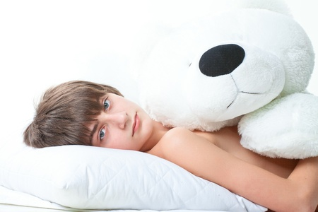 portrait of handsome guy with white bear isolated on white Stock Photo - 14590065