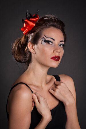 beautiful elegant woman with fashion makeup photo