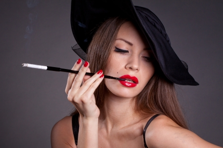 beautiful elegant woman with fashion makeup photo