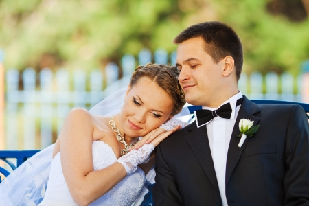 getting together: bride and groom in love