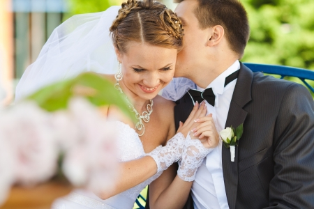 getting a bride: bride and groom in love