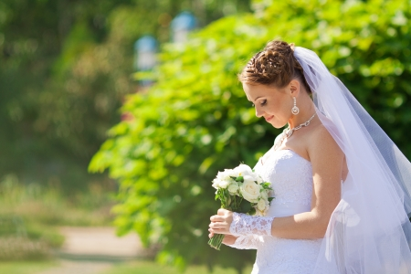Portrait of the young beautiful bride on the nature Standard-Bild