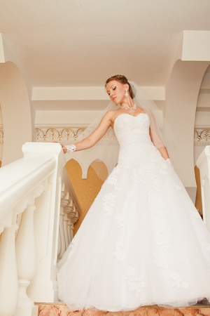 portrait of beautiful bride in palace photo