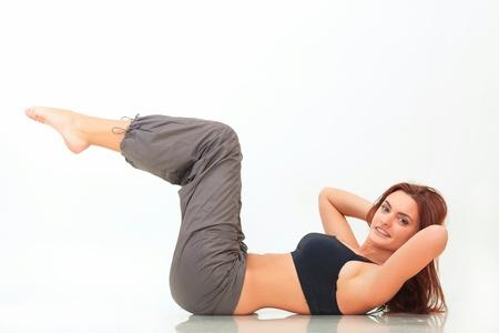 sportwear: Fitness woman doing exercises