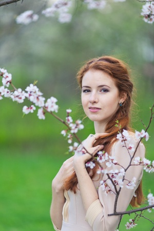 beautiful girl with red hair in spring cherry garden photo
