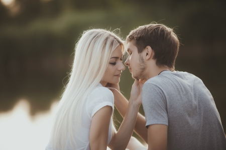 portrait of young couple in love outdoors