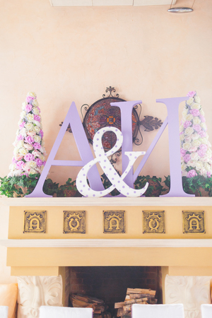 Ornamental decoration festive hall initials of the bride and groom photo
