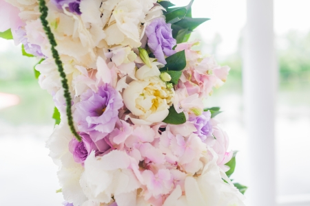 Detail of floral wedding arch closeup photo