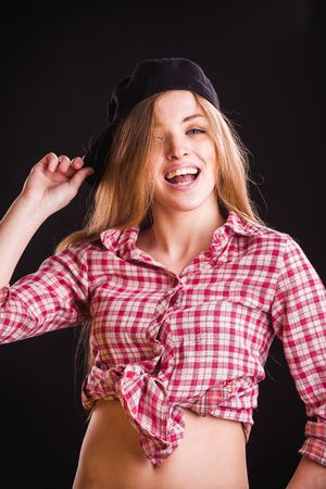 fresh girl: adult, alone, attractive, attractive female, background, beauty, cap, casual, caucasian, checkered, confidence, cute, expression, face, fashion, female, fresh, girl, gray, hairstyle, healthy, horizontal, indoors, jeans, lady, life, lifestyle, looking, mod