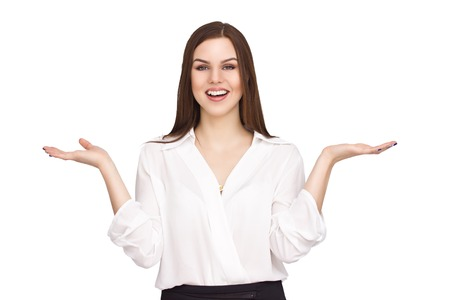 woman hands up: Business woman palms up showing something  isolated on white