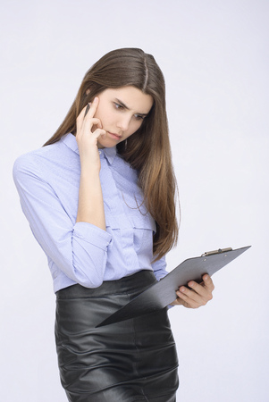 planing: Portrait of businesswoman with tablet planing something