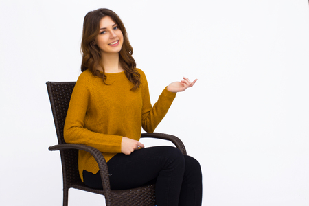 siting: Portrait of beautiful woman siting isolated on white Stock Photo
