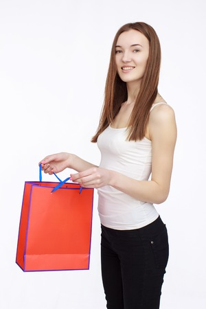shoping: happy shopping girl holding shoping bag in hand Stock Photo