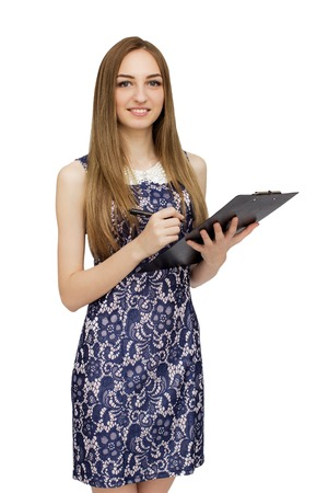 colorful dress: Portrait of woman in colorful dress with tablet