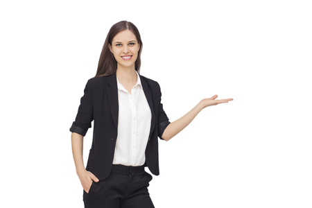 businesswoman suit: Young succesfull businesswoman with palms up on isolated background
