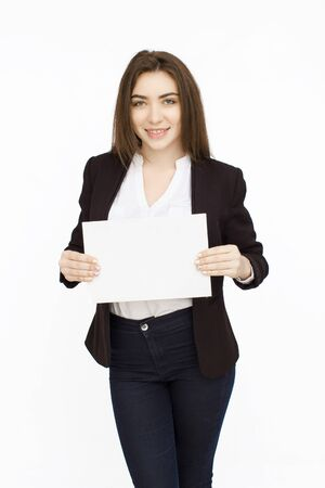 businesswoman suit: Young smiling woman show blank card or paper on white background.