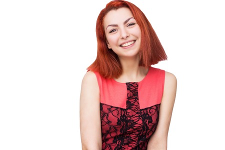 red head woman: portrait of red head woman with bright smile Stock Photo